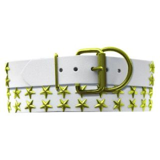 Platinum Pets White Genuine Leather Dog Collar with Stars   Corona Lime ( 20
