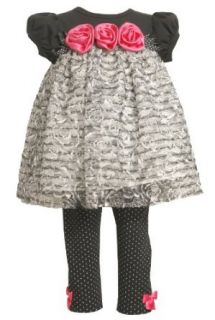 Bonnie Baby Girls Newborn Knit Bodice With Ruffles and Satin Flowers Legging Infant And Toddler Pants Clothing Sets Clothing