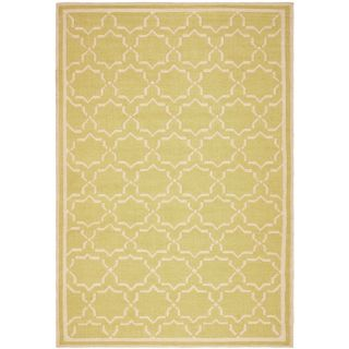 Safavieh Hand woven Moroccan Dhurrie Light Green/ Ivory Wool Rug (5 X 8)