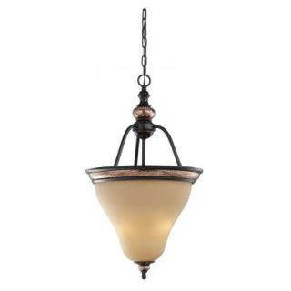 Sea Gull Lighting Brixham 3 Light Rustic Bronze Pendant with Hammered Copper Inlay Shade DISCONTINUED 51590 844