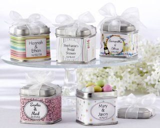 """Unexpected Treasures"" Favor Tin with Pre Tied Organza Bow & 40 Custom Designer Labels (Set of 864)   Baby Shower Gifts & Wedding Favors  Baby Keepsake Boxes  Baby"