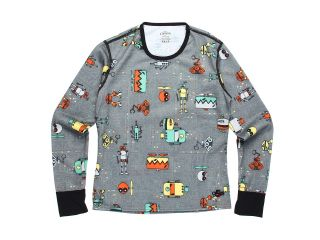Hot Chillys Kids Midweight Print Crew Boys Clothing (Gray)