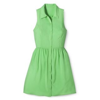 Merona Womens Woven Sleeveless Shirt Dress   Pristine Green   12