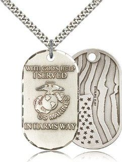 Large Detailed Men's .925 Sterling Silver Marines USMC Marine Corps Protection Gift Medal Pendant 1 1/2 x 3/4 Inches  M22  Comes with a Stainless Silver Heavy Curb Chain Neckace And a Black velvet Box Jewelry