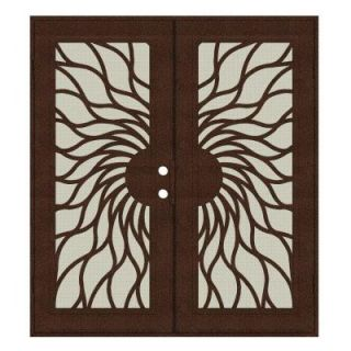 Unique Home Designs Sunfire 60 in. x 80 in. Copper Left Hand Recessed Mount Aluminum Security Door with Beige Perforated Aluminum Screen 1S2001JN1CCP2A