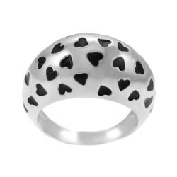 Tressa Sterling Silver Black Enamel Hearts Ring Tressa Sterling Silver Rings