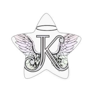Letter K Initial Monogram with Angel Wings & Halo Star Stickers