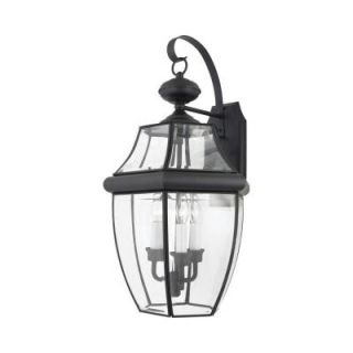 Filament Design 3 Light 13.00 in. Outdoor Mystic Black Clear Glass Wall Mount Light CLI GH8009215