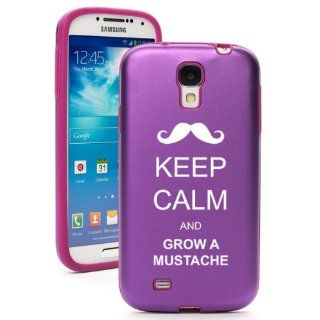 Purple Samsung Galaxy S4 S IV i9500 Aluminum & Silicone Hard Back Case Cover KA621 Keep Calm and Grow A Mustache Cell Phones & Accessories