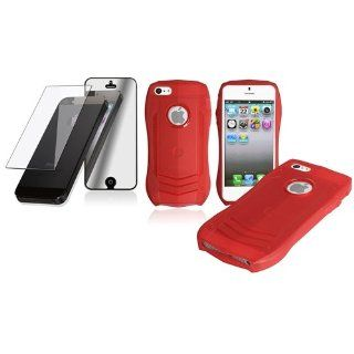 CommonByte Red Lamborghini TPU Rubber Soft Cover Case Skin+2x Mirror Protector For iPhone 5 Cell Phones & Accessories