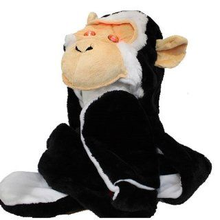 PLUSH FAUX FUR BLACK AND WHITE HAT, SCARF AND LONG MITTENS   MONKEY  Other Products