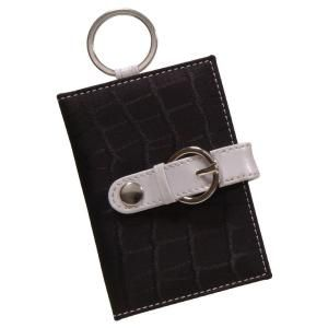The Hillman Group Black Leather Mini Wallet Key Chain 701337