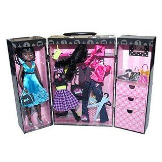 "Imagination Girl Doll & Fashion Show Case Set African American 30 piece Set Includes a 15"" Vinyl Doll, A Doll Case, Doll Outfits, Shoes Toys & Games"