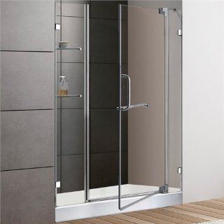 "VIGO VG6042CHCL48WS 48 inch Frameless Shower Door 3/8"" Clear Glass Chrome Hardware with White Base"