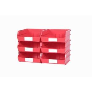 Triton Products LocBin Large Red Wall Storage Bins (6 Bins) and 2 Wall Mount Rails 3 235RWS