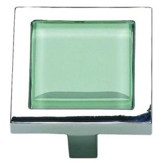 Atlas Homewares Spa Collection 1 3/8 in. Green Glass And Polished Chrome Square Cabinet Knob 230 GR/CH