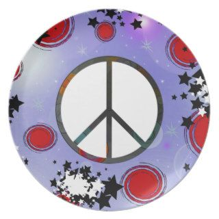 Cute Christmas Stars & Peace Sign Abstract Art Plates