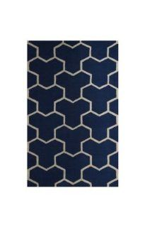 Safavieh CAM146G Cambridge Collection Handmade Wool Area Runner, 2 Feet 6 Inch by 4 Feet, Navy Blue and Ivory