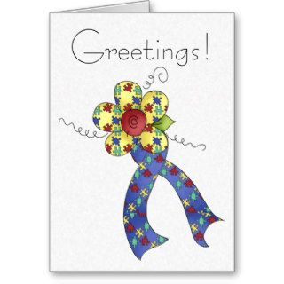 Autism Puzzle Awareness Ribbon & Flower Card