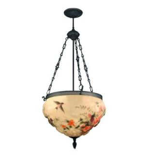 Dale Tiffany 3 Light Antique Bronze Rose Hand Painted Hummingbird Hanging Fixture 10218/3LTE