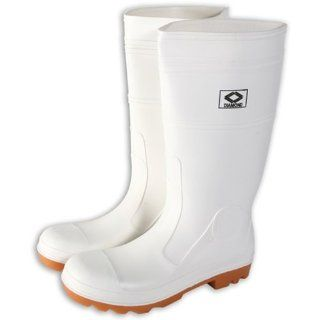 Diamond 164 High Grade Virgin PVC Plain Toe Protective Knee Boot, Size 10, White Protective Safety Boots