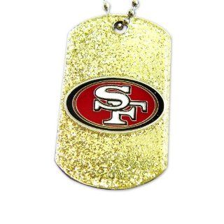 San Francisco 49ers Dog Fan Tag Glitter Sparkle Necklace NFL San Francisco 49ers Dog Fan Tag Glit  Sports Fan Necklaces  Sports & Outdoors