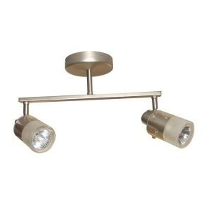 Hampton Bay 2 Light Brushed Steel Ceiling Wall Bar Track Lighting Fixture EC354BA
