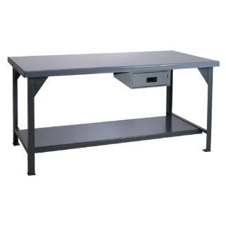 "Durham Heavy Duty Steel/Iron Workbench with Drawer, DWB 3048 177 95, 4000 lbs Capacity, 30"" Length x 48"" Width x 34"" Height, Gray Powder Coat Finish Science Lab Benches"