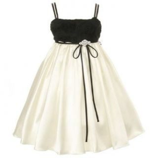 Kids Dream Black Ivory Tissue Cut Rose Flower Girl Dress Girls 2T 14 Kids Dream Clothing