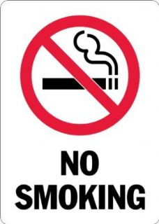 "SmartSign 3M Engineer Grade Reflective Sign, Legend ""No Smoking"" with Graphic, 14"" high x 10"" wide, Black/Red on White Industrial Warning Signs"