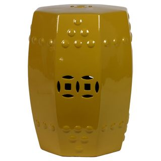 Urban Trends Collection 18 inch Yellow Ceramic Stool Urban Trends Collection Vases