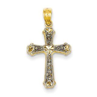 14k Two Tone Gold Estate Fleur de Lis Cross Pendant. Metal Wt  1.13g Jewelry