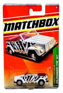 "Mattel Year 2010 Matchbox MBX Jungle Explorers Series 164 Scale Die Cast Car #96   Zebra Camo Color ""Jungle Thing Base Camp"" Compact Sport Utility Vehicle SUV VOLKSWAGEN TYPE 181 (aka Trekker, Thing and Safari) Toys & Games"