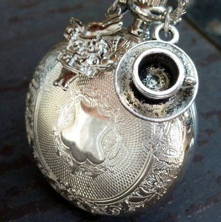 Alice in Wonderland Tea Party Steampunk pocket watch necklace pendant charm 1