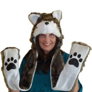 3 in 1 Faux Fur Animal Winter Snow Hood Hat Gift   Winter Unisex Faux Fur Bulldog Hat 3 in 1 Hat, Scarf and Mittens with Fleece Lining  Other Products