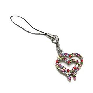 Cell Phone Charms ~ Double Hearts Cellphone Charm Accented with Multi color Crystals (Style Cellphone Charm 194 86) Cell Phones & Accessories