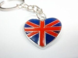1x UNION JACK UK FLAG HEART car keychain key fob ring