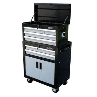 Excel 26 in. Top Chest and Roller Cabinet, Black with Diamond Plate Drawer Fronts, 26.7in W x 17.1in D x 43.9 in.H, Each TB2031X AB