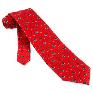 Hockey Skates Tie by Alynn Novelty   Red Silk Novelty Neckties Clothing