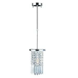 Worldwide Lighting Torrent 1 Light Polished Chrome Round Clear Crystal Mini Pendant W83531C6 CL
