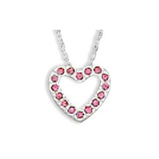 "CleverEve Designer Series Sterling Silver Floating Pink CZ Heart Chain Slide Necklace w/ 18.0"" Chain CleverSilver Jewelry"