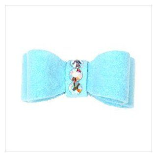 Ultrasuede Clip Style Bow w/ Crystals for Dogs   Tiffy (bright) Blue  Pet Hair Accessories