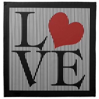 Valentines Day Love Pinstripes Black and White Printed Napkin