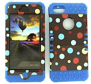 APPLE IPHONE 5 POLKA DOTS ON BROWN HEAVY DUTY CASE + LIGHT BLUE GEL SKIN SNAP ON PROTECTOR ACCESSORY Cell Phones & Accessories