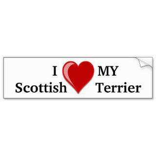 I Love (Heart) My Scottish Terrier Dog Gifts Bumper Stickers