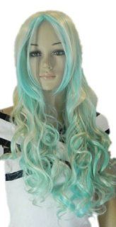 Qiyun Long Blue Silver White Mix Wavy Curly Hair Full Cosplay Anime Costume Wig Health & Personal Care
