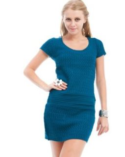 247 Frenzy Ribbed Knit Sweater Dress   Teal (Small)