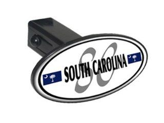 "South Carolina Euro Oval Flag   1 1/4 inch (1.25"") Tow Trailer Hitch Cover Plug Insert Automotive"