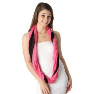 Fashion Chic Two tone color infinity scarf fuschia pink PCS284 Fashion Scarves