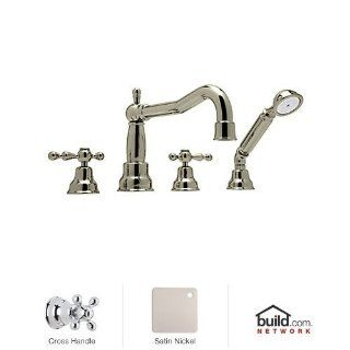 Rohl AC262X STN Cisal Roman Tub Faucet with Single Function Hand Shower and Metal Cross Handles, Satin Nickel   Single Handle Tub Only Faucets
